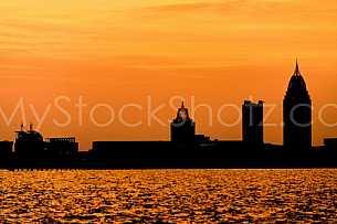 Mobile Skyline Sunset Silhouette