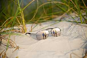 Sunglass reflection at the beach