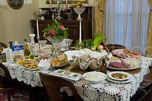 Family Dinner table set