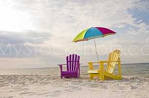 Chairs on the beach at Gulf Shores, Alabama