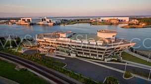 GulfQuest Maritime Museum - Dusk/Sunset Aerial