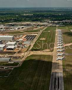 Airbus Final Assembly Line and American Airlines Boeing 777's in temporary storage