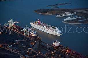 Cruise Ship Aerial at dusk