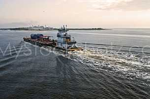 Tugboat and barge