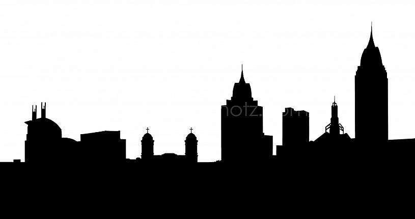 Mobile Skyline - Line Art Silhouette