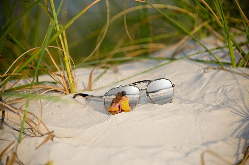 Sunglass reflection at the beach