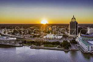 Mobile Alabama Skyline at Sunset