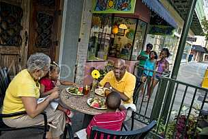 Downtown Activity - Familiy Dining Outside on Dauphin Street