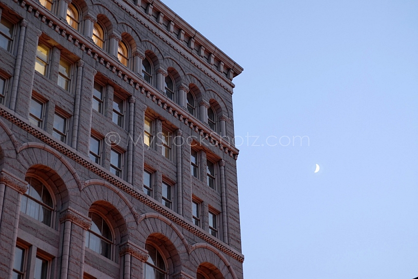 office building and moon