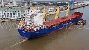 Big ship passes Mobile - aerial