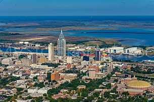 Aerial view - Downtown Mobile, Alabama