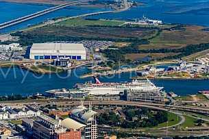 Mobile, Alabama and Carnival Cruise Ship aerial